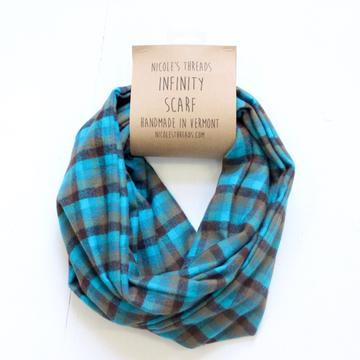Teal, Olive Brown Flannel Infinity Scarf