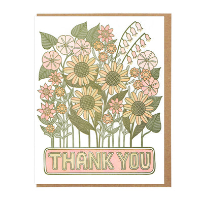 Thank You Flowers Letterpress Greeting Card WATERBURY