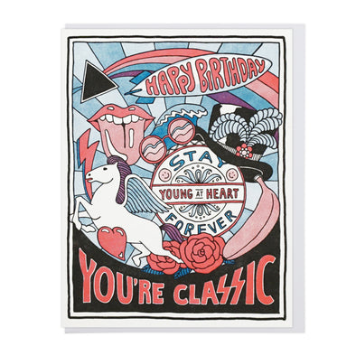 Classic Rock Birthday Letterpress Greeting Card