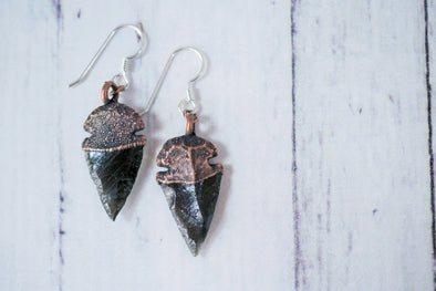 Dragonglass Obsidian Arrowhead Earrings