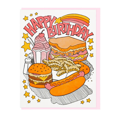 Birthday Fast Food Letterpress Greeting Card WATERBURY