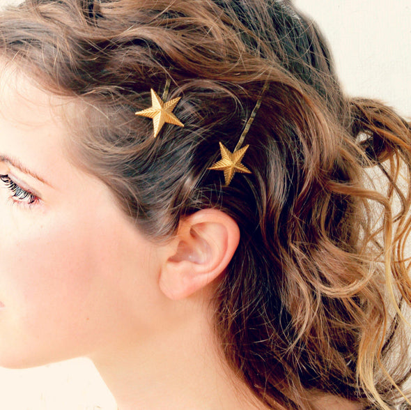 Golden Star Bobby Pins Set of Two