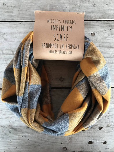 Mustard and Grey Flannel Infinity Scarf