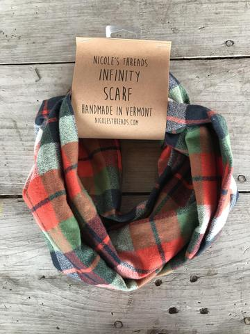 Plaid Flannel Infinity Scarf - Orange, Blue, Green, & Cream