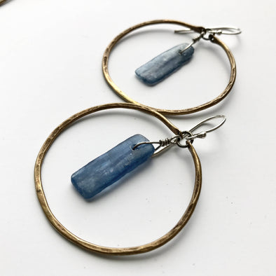 Brass Kyanite Circles Earrings - Small