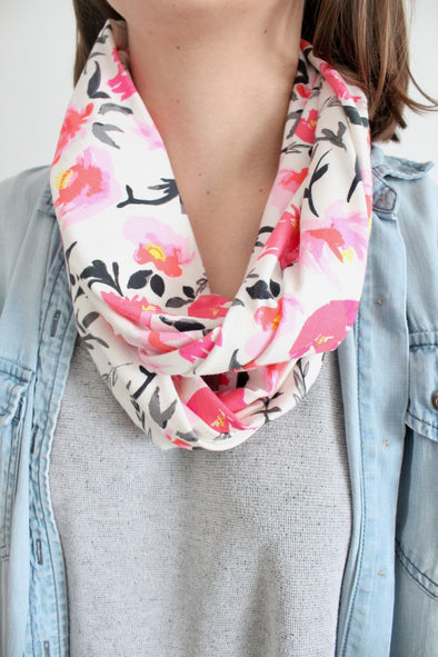 Organic Cotton Jersey Scarf - Roses and Vines