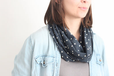 Organic Cotton Infinity Scarf - Triangles on Navy