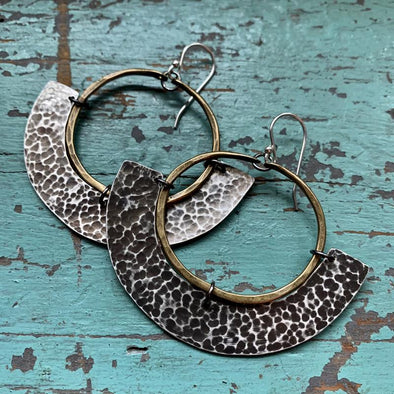 Mezzaluna Earrings - Brass Hoop w/ Thin, Hammered Silver Blade