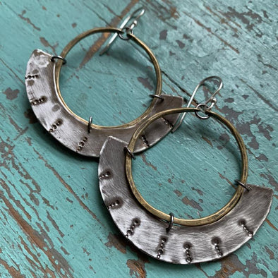 Mezzaluna Earrings - Brass Hoop w/ Thin, Stamped Silver Blade