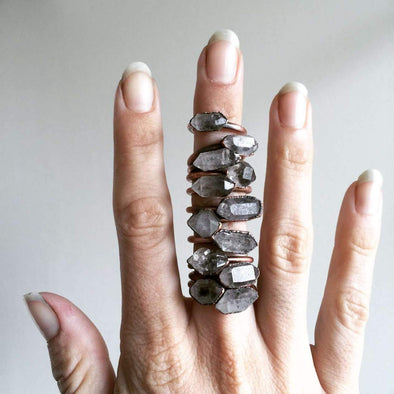 Anthraxolite Quartz Ring*