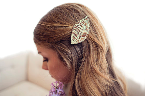 Mint Geometric Leaf Hair Clip Laser Cut Alder Wood
