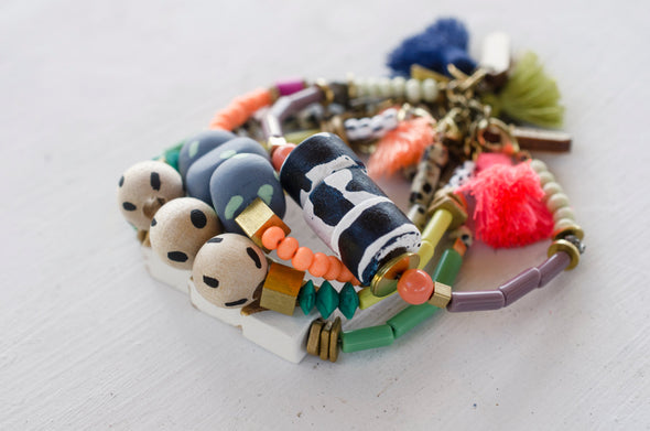 Colorful Beaded Bracelet with Hand Painted Beads