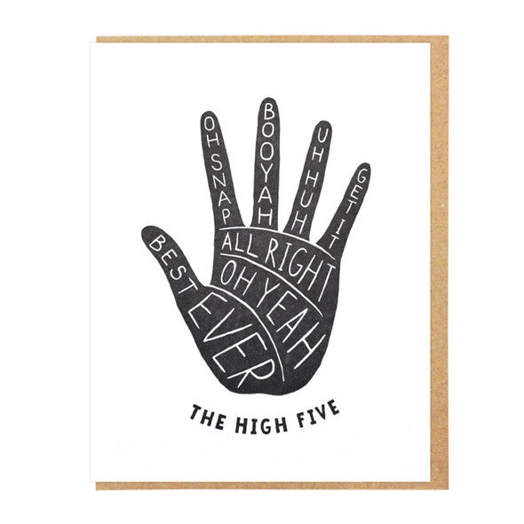 The High Five Letterpress Greeting Card
