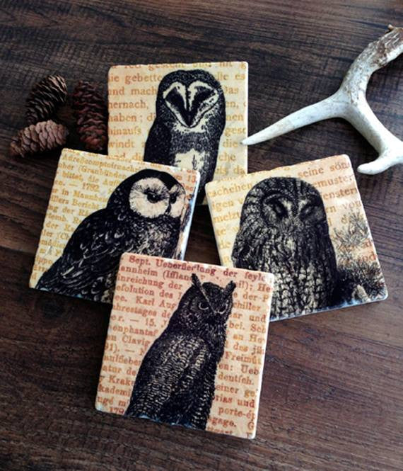 Wise Old Owl Coasters // Set of 4