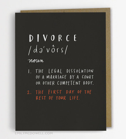 Divorce Definition Greeting Card