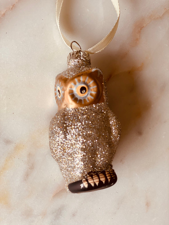Glittered Owl Ornaments