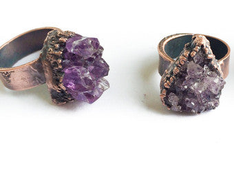 Amethyst Druzy Copper Ring
