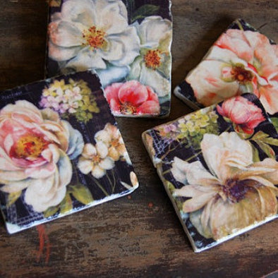 Dark Floral Coasters // Set of 4