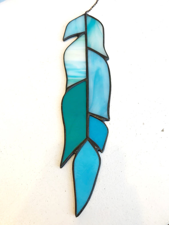 Stained Glass Feather, Turquoise