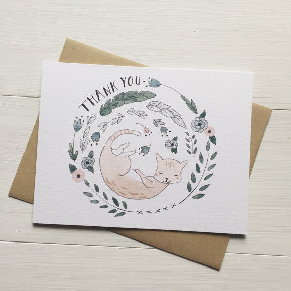 Thank You Kitty Greeting Card Set of 10