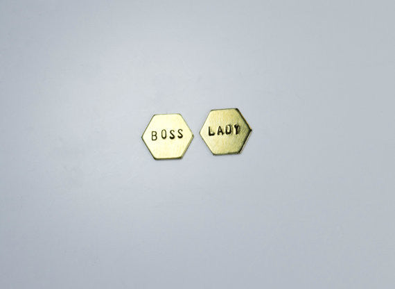 Lady Boss Hexagon Studs