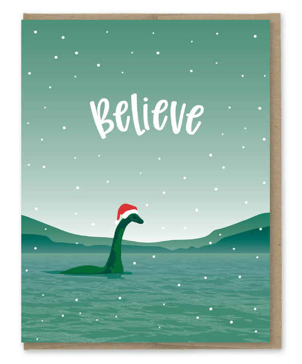 Lake Monster Believe Holiday Card