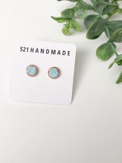 Light Blue Druzy Stud in Rose Gold Setting - 8mm