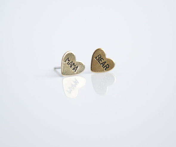 Mama Bear Brass Heart Studs