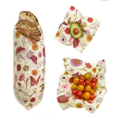 Set of 3 Assorted Plant Based Wraps in Meadow Magic Bee's Wrap