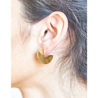 Geometric Mini Semi Circle Stud Earrings