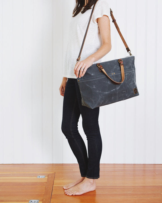 Waxed Canvas Carry On Crossbody Bag