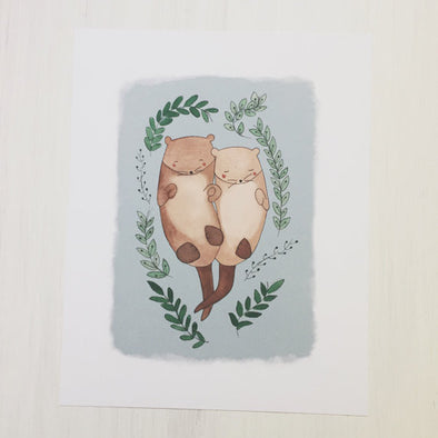 Otters in Love 8x10 Art Print