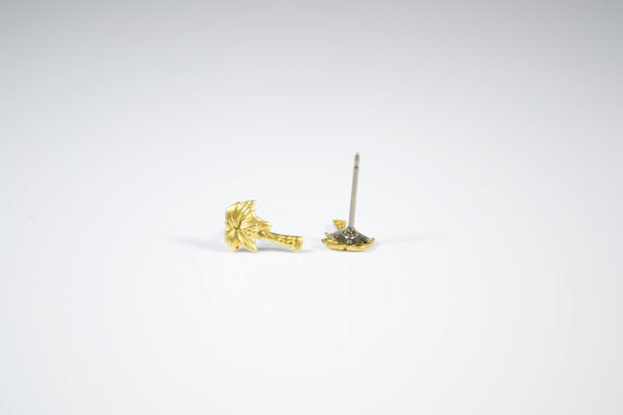 Brass Palm Tree Studs
