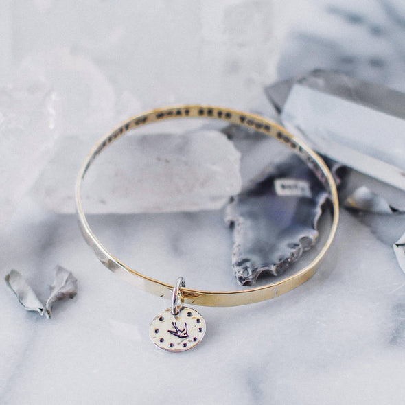 Be Fearless in the pursuit of what sets you free // brass bangle Bracelet with silver charm