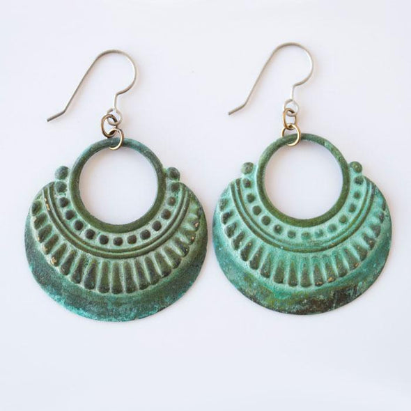 Patina Ornate Circle Hoop Dangle Earrings