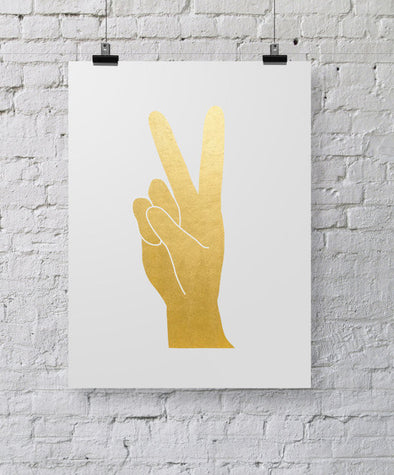Gold Foil Peace Hand 8x10 Art Print