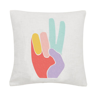 Peace Hand Embroidered Pillow