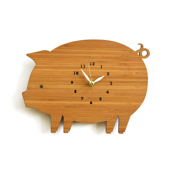 Pig Bamboo Wall Clock