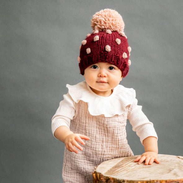 Popcorn Hat - Pomegranate and Pink