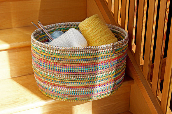 Rainbow Knitting Basket