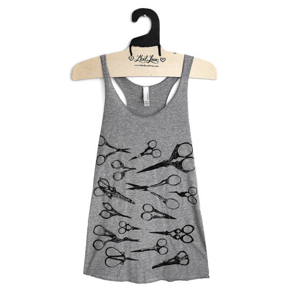 Gray Scissors Racerback Tank