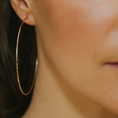 "2"" Skinny Gold Hoops"
