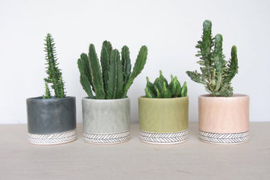 Small Round Herringbone Pinched Planter