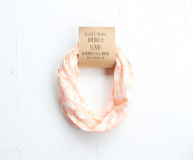 Coral Pink Infinity Scarf w/ Swan Pattern