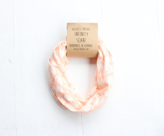 Organic Cotton Infinity Scarf - Coral Pink Swan Pattern