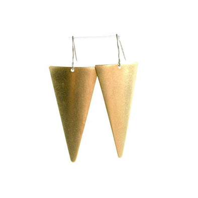 Brass Triangle Dangle Earrings WATERBURY