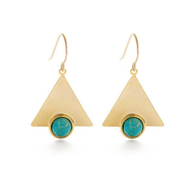 Mystic Triangle Earrings Turquoise Howlite