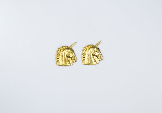 Brass Unicorn Studs