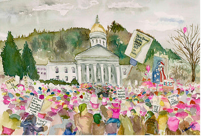 Women's March Watercolor Greeting Card Set of 6- WATERBURY