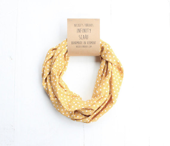 Organic Cotton Infinity Scarf - Yellow with White Polka Dots
